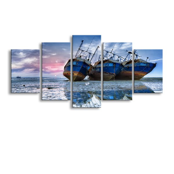 5 pieces high-definition print Ship canvas oil painting poster and wall art living room picture PL5-155