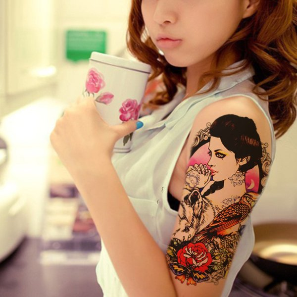 Wholesale- 1pcs Beauty Fake Tattoo For Women Sticker On The Body Art Sexy Girl Owl Tattoo Wolf Designs Temporary Tattoo Sleeves Rose Flower
