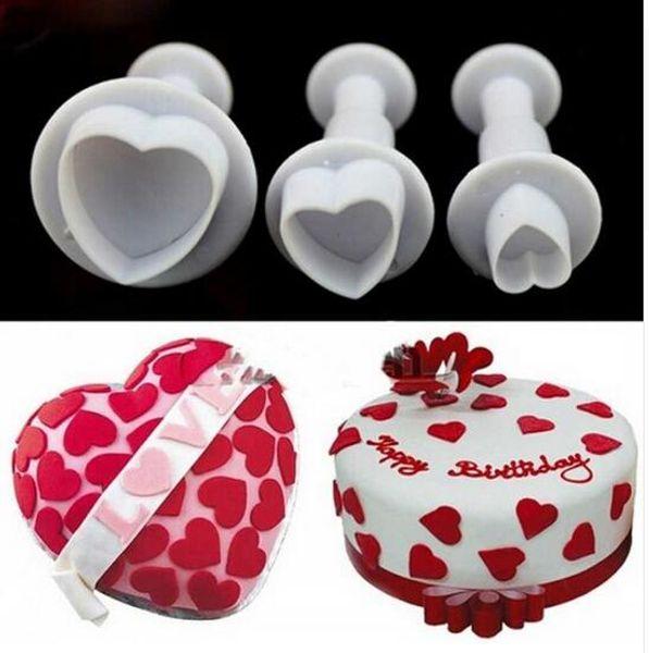 Free Shipping 3Pcs/Set Heart Cake Sugar Sugarcraft Plunger Cookie Cutter Diy Mold Christmas Cake Decorating Tools