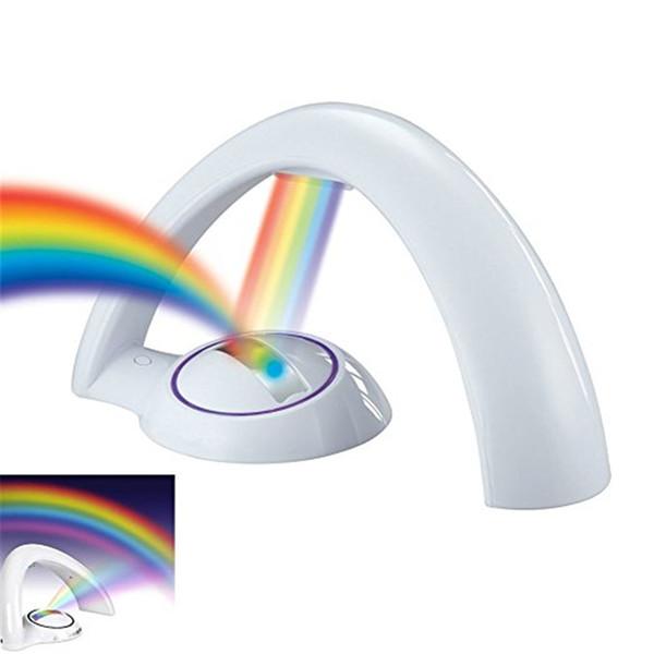 Proiettore arcobaleno a LED Luce notturna Lampada magica a colori per bambini Luci romantiche con lacci per capelli elastici per la decorazione della camera Camera da letto