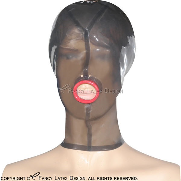 Transparent Black Sexy Latex Hood Open Mouth Nose With Zip At Back Fetish Rubber Mask Bondage Plus Size TT-0022