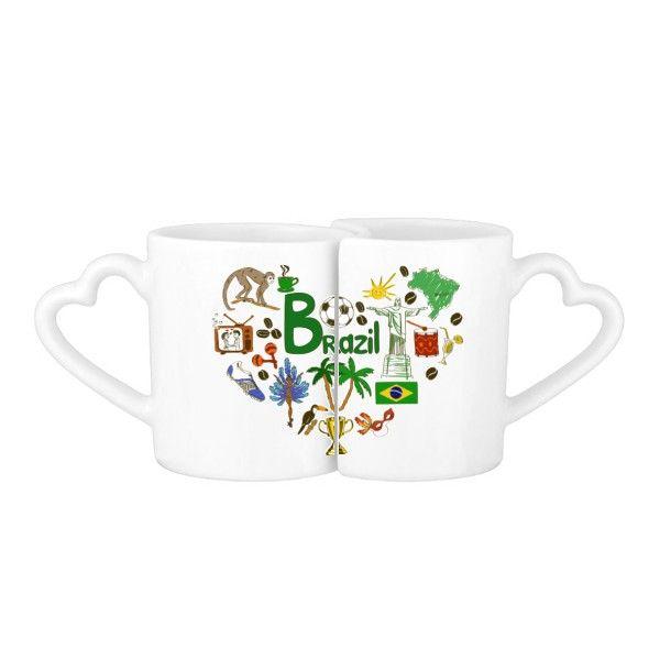 Wholesale- Brasile Vintage Illustration Lover Mug Set ceramica bianca ceramica tazza creativa e carino divertente tazza di caffè al latte con manici