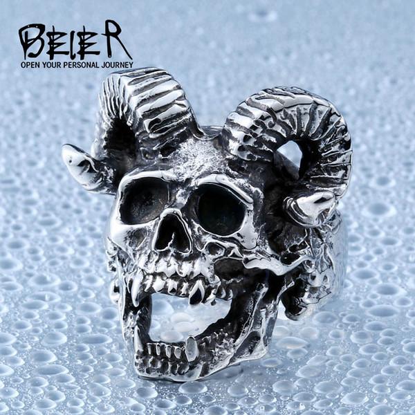 Wholesale- Beier new store 316L Stainless Steel men ring Goat horns skull punk biker ring fashion jewelry LLBR8-406R