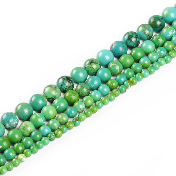 Hot 4MM 6MM 8MM 10MM Natural Dyed green Turquoise Stone Beads For Bracelet Necklace DIY Jewelry Making