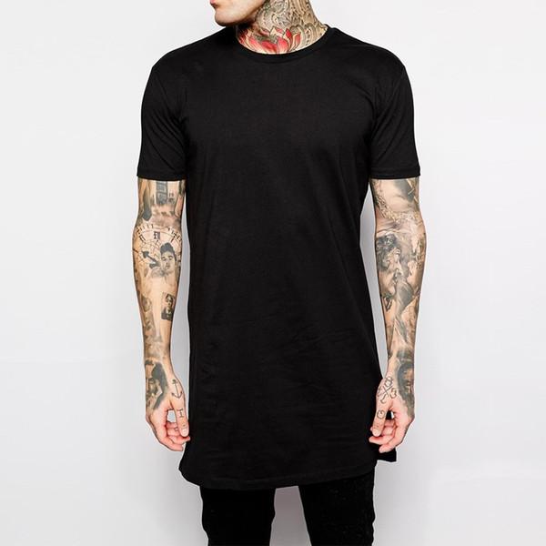 Ropa nueva para hombre negro largo de la camiseta de los hombres Tops hip hop camiseta de la camiseta de los hombres de hiphop de manga larga ocasional camiseta