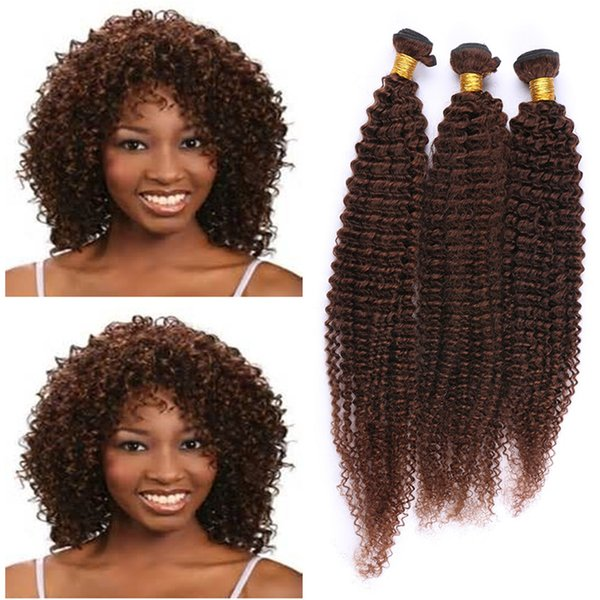 Brown Kinky Curly Human Hair Weave Peruvian Virgin Hair Bundles #4 Middle Brown Hair Extensions No Tangle No Shed 8A Grade