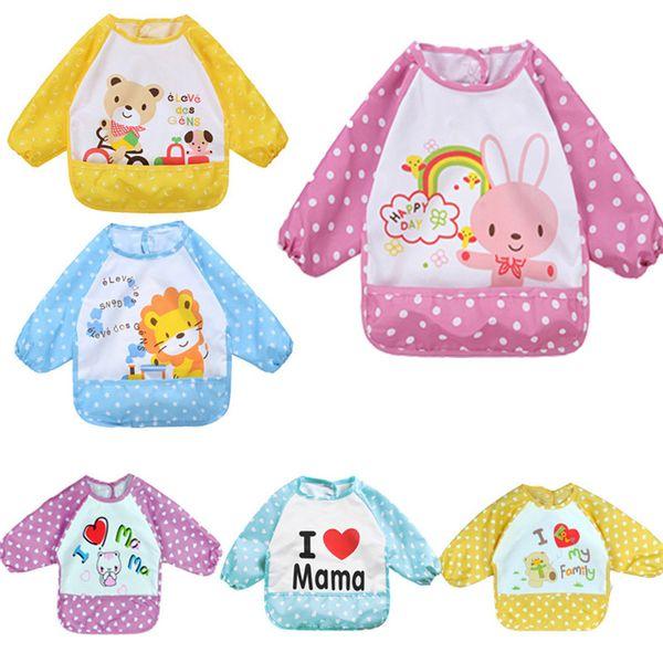 New Cartoon Baby Bibs Waterproof Long Sleeve Burp Clothes Feeding Art Smock Apron Cute Infant Clothing