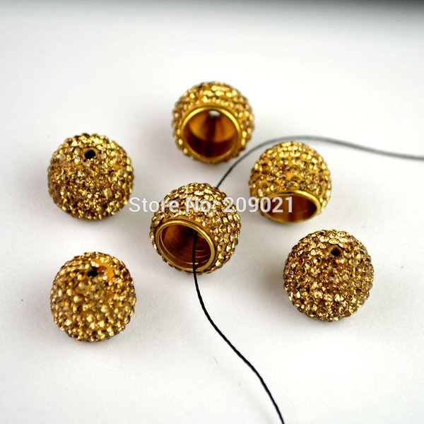 DIY 30pcs Pave Rhinestone Ends Buckle Bead Caps For Jewelry Making Finding in 8mm Hole