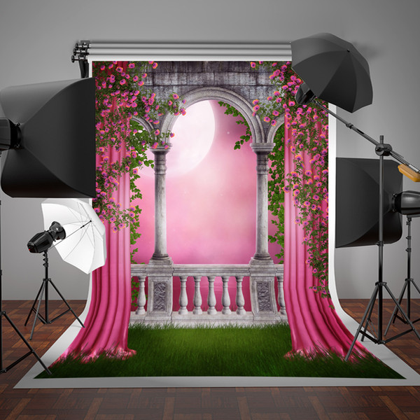 best selling SUSU Spring Photo Studio Backgrounds Garden Gallery Pink Curtain Photographic Backdrops Balcony 5x7ft for Wedding Photography Props