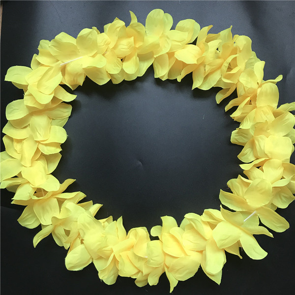 10pcs Yellow Hawaiian Leis Jumbo Necklaces Festive Party Garland Silk Flower Hawaii leis Fancy Dress Party Hawaii Beach Fun