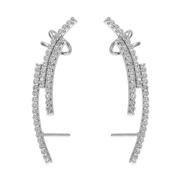top popular KIVN Womens Fashion Jewelry CZ Cubic Zirconia Ear Cuff Ear Crawler Climber Earrings Girls Mothers Day Birthday Christmas Gifts 2019