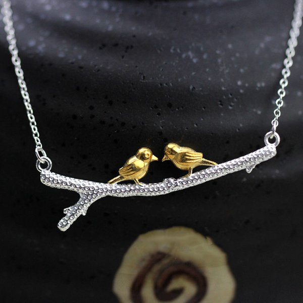 5pcs/lot New Hot Sale Real Pure 925 Sterling Silver Lovely Golden Two Bird on Branch Women Statement Jewelry Best Gift Free Shipping