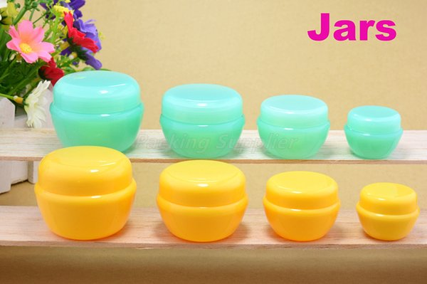 Venta al por mayor 2 frascos de colores para la crema cosmética maquillaje frasco rellenable botella botella vacía envío gratis # 3124