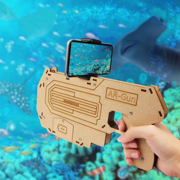 Новое Прибытие!Bluetooth 4.0 телефон стенд держатель дизайн деревянные большой AR пистолет игрушки VR 3D AR игры для iPhone Android