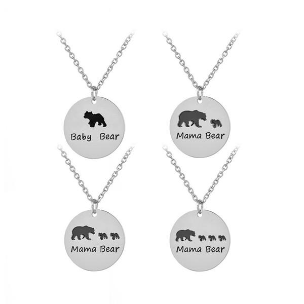 Schwarz Emaille Baby Bär Mama Bär Halskette Silber überzogene Münze Anhänger für Frauen Kinder Mode Schmuck Geschenk TROPFEN SCHIFF 162229