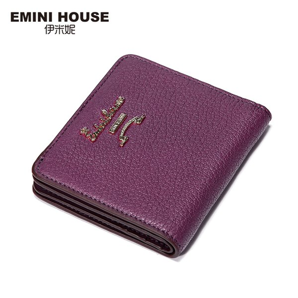 Wholesale- EMINI HOUSE 5 Colors Fashion Sheepskin Women Short Wallets Genuine Leather Wallet Mini Luxury Zipper Coin Purse Travel Wallet