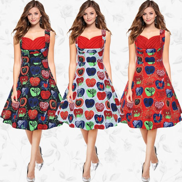 Pleated Strapless Fruit Printed A Line Dress Summer Women Sleeveless Contrast Color Casual Vintage Party Dress