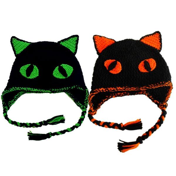 Super Cool Twins Black Cat Hat,Handmade Knit Crochet Baby Boy Girl Scary Cat Animal Hat,Kids Halloween Costume,Infant Newborn Photo Prop