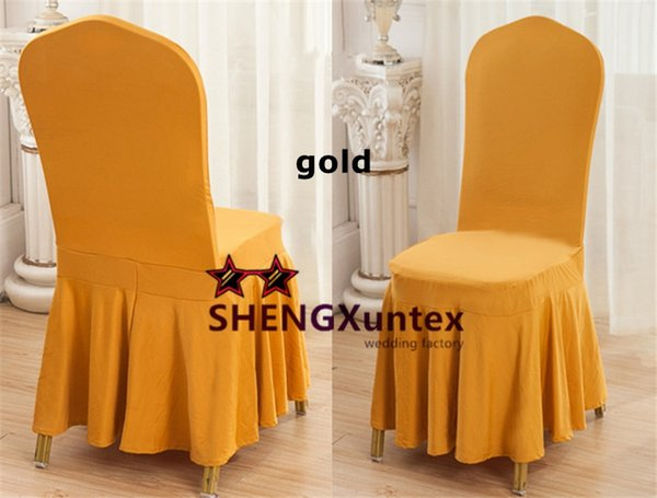 New Design Bottom Ruffled Lycra Spandex Chair Cover For Wedding Decoration