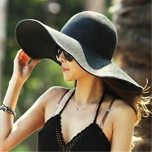 Women Beachwear Sun Hat OutDoor Elegant Ladies Striped Straw Summer Beach Church Hat Floppy Fashion Foldable Big Brim Hat Gift