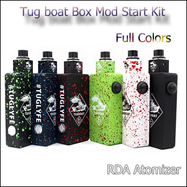 2019 Popular Tug boat Box Mod Start Kit Tuglyfe Unregulated Box vape Mod Kit with Tugboat Mod Aluminum Body RDA Atomizer freeshipping