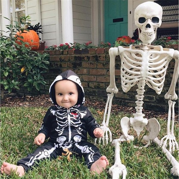 INS Halloween pagliaccetti per bambini Boy girl tute nero Scheletro infantile Hooded Climbing clothes Toddler INS romper