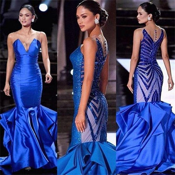 Miss Universe 2016 Evening Dresses Mermaid Blue Illusion Back Beaded Sequins Ruffles Satin Sleeveless Women Pageant Gowns Formal Prom Dress