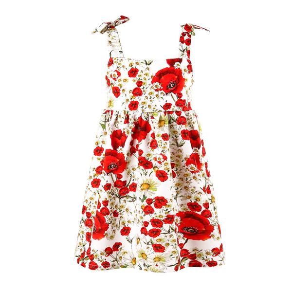 Rose Flower Girls Summer Dress Children Beach Clothes Fashion Sundress Backless vestido Kids Jumper Brace One-piece dresses