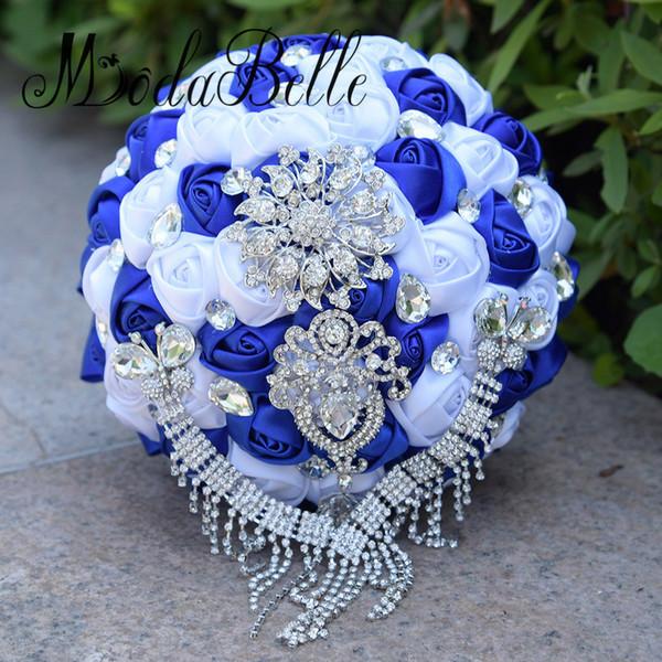 modabelle Champagne Gold Artificial Wedding Bouquets Brooch Bouquet Vestido De Noiva Crystal Wedding Bouquets Royal Blue