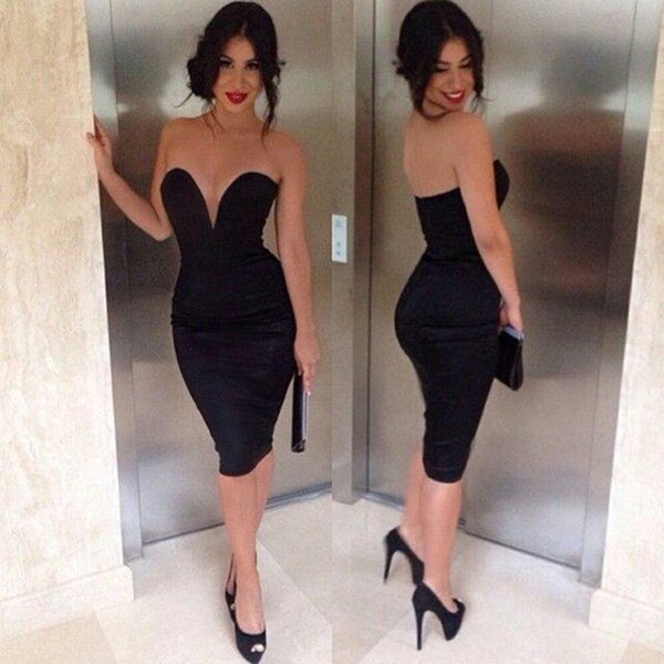 Short Black Cocktail Dresses High Quality Sweetheart Knee Length Midi Bodycon Women Wear Evening Dresses Party Prom Homecoming Dresses