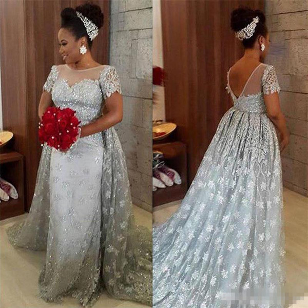 Modest Plus Size Silver Lace Prom Party Dresses With Short Sleeves Jewel Neck Sexy Backless Detachable Train Arabic Women Formal Bridal Gown