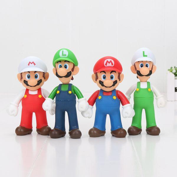 Free shipping 4pcs/set 12cm Super Mario Bros Luigi Mario Action Figures Toys Doll