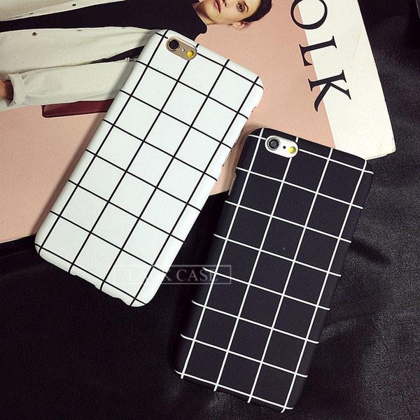 Luxury Retro Black White Grid Case For iphone 7 Case For iphone7 6 6S PLus Phone Cases Fashion Simple Matte Hard Back Cover Capa