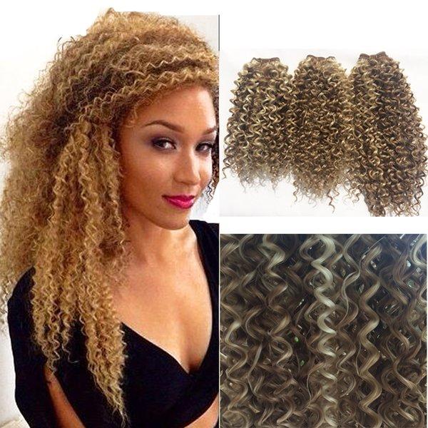 Best False Long Blonde Hair Synthetic Kinky Curly Hair Weaving