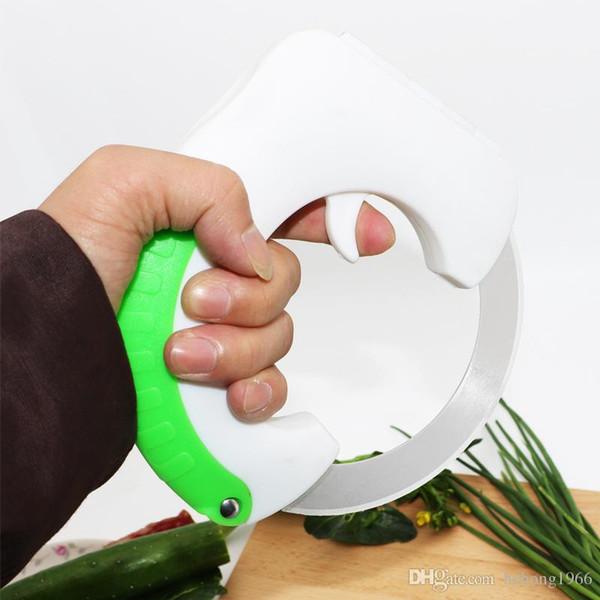 Faca de rolamento Verde Multi Função Prático Cozinheiro De Carne Chopper Non Slip Facas Rodada Slicer Picnic Camping Ferramenta de Cozinha 15 5xx R