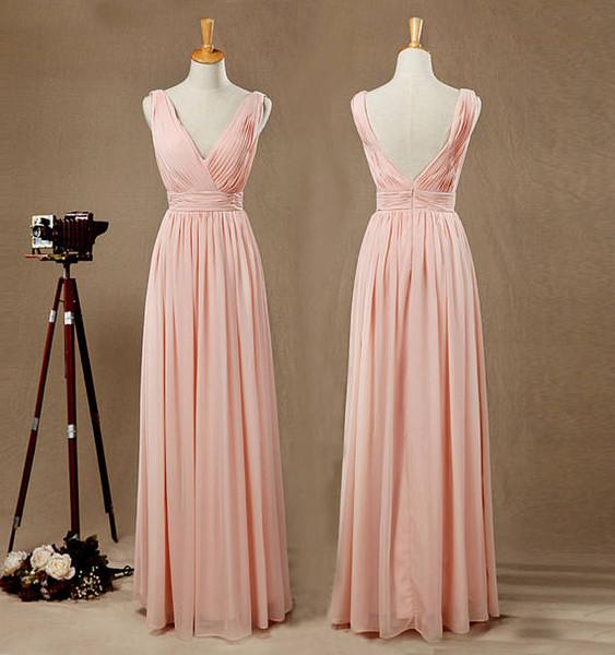 Compre Corte A Princesa Escote En V Hasta El Suelo Gasa Vestido De Dama De Honor Con Plisados Vestido Largo De Baile De Color Rosa Con Escote En V