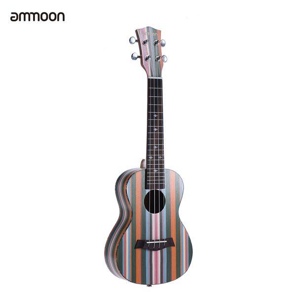 """best selling Wholesale-ammoon Colorized 24"""" Acoustic Soprano Ukulele Ukelele Uke Wooden 18 Frets 4 Strings Okoume Neck Rosewood Fingerboard"""