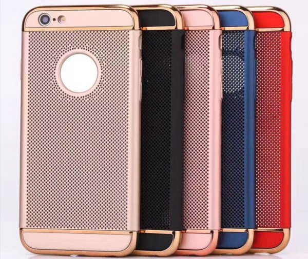 Ultra Thin PC 3 in 1 mesh case Woven Breathable Plating dotted Back Cover hard case for iphone X 10 8 6 7 plus