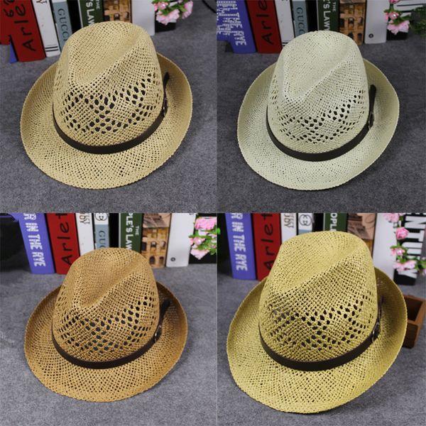 Весна Лето Мужчины Женщины Ручной Работы Fedora Панама Шляпы Мягкие Моды Полые Пляжные Шляпы От Солнца Британский Стиль Джаз Cap Кожаная Пряжка GH-83