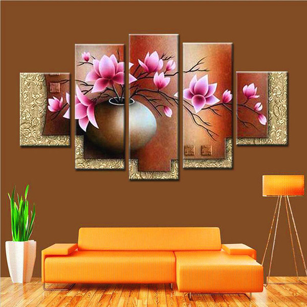 Framed 5 Panel Large Hand Painted Modern Flower Canvas Oil Painting Set Home Living Room