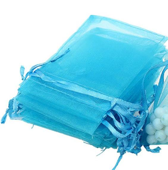 Hot Sales ! 100pcs LT BLUE Drawstring Organza Gift packing Bags 7x9cm 9x12cm 10x15cm Wedding Party Christmas Favor Gift Bags