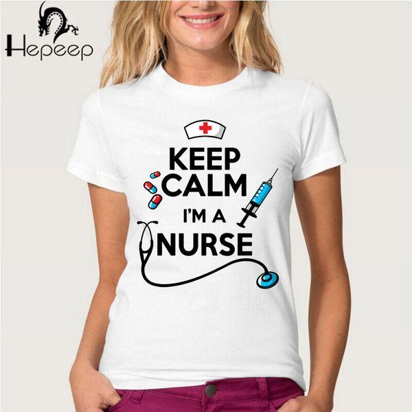 Wholesale- Hepeep brand+ 2017 newest summer women T-shirt Keep calm i;m a nurse Tee shirt novelty design letter short sleeve girl tops
