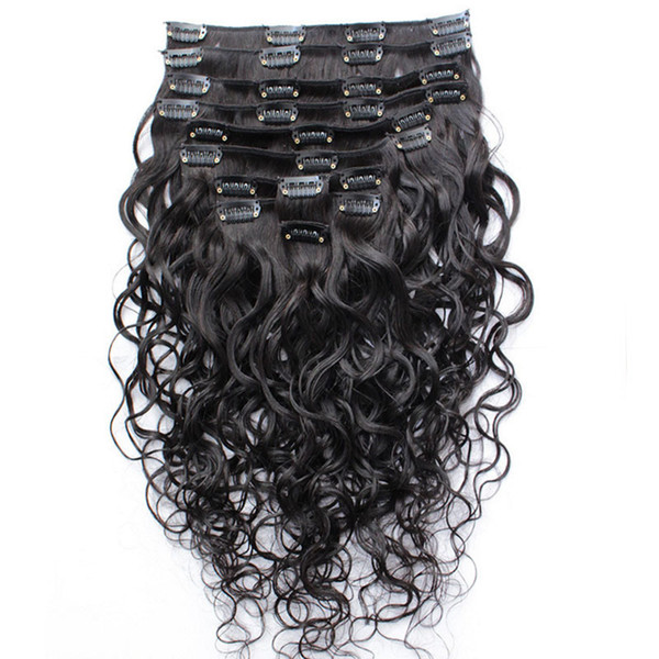 top popular Wet And Wavy Clip Indian Human Hair Extensions Cheap Full Head Clip In Hair Extensions Water Wave 10pcs set 120g set Free Shipping 2019