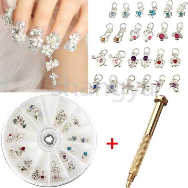 Nail Art Charm Piercing Hand Drill Hole Pierce Tool 24 Pendants