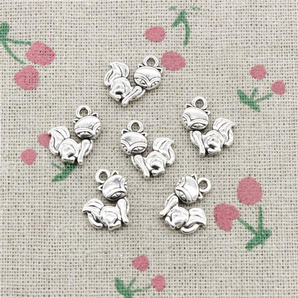 130pcs Charms fox 15*14mm Antique pendant Zinc Alloy Jewelry Ancient Sliver DIY Craft Necklace Bracelet Accessories