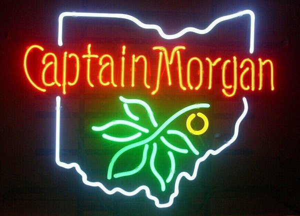 """Captain Morgan Ohio State Buckeye Spiced Rum Neon Sign Beer Bar KTV Store Club Real Glass Advertising Display Art Neon Signs 19""""X15"""""""