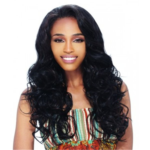 Full Lace Wig Curly hair color black Full Lace Human Hair Wig Senior silk Long Wavy Brazilian Virgin Hair 100% With Bangs For women Color 1#