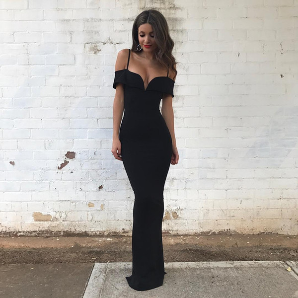 Simple modest black mermaid long floor prom dresses 2019 spaghetti off shoulder zipper back evening party gowns