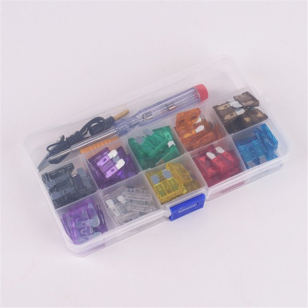 100Pcs car auto Blade Fuse Kit 2A 3A 5A 7.5A 10A 15A 20A 25A 30A 35A with Electrical Tester Electroprobe Fuse Dimensions:19mm x 5mm x 18mm