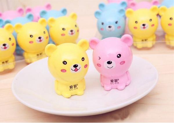 Japanese Stationery Cute Bear Plastic Metal Random Color Single Hole Pencil Sharpeners Office & School Supplies Kawaii Stationery